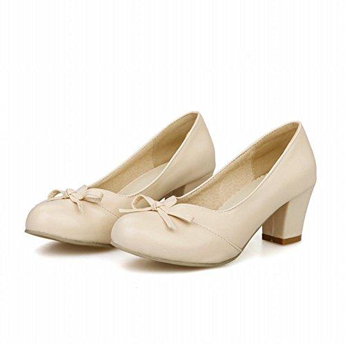 Charm Foot Womens Elegant Bows Chunky Mid Heel Pump Shoes Beige