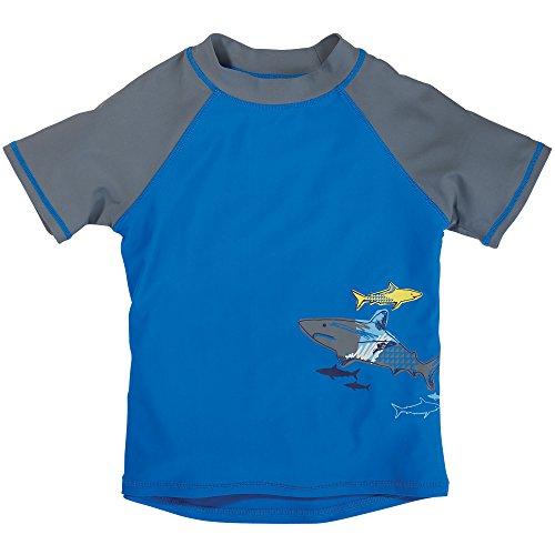 Sun Smarties Toddler Boys UPF 50+ Short Sleeve Shark Rash Guard 2T Blue, Gray