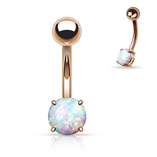 14G Opal Prong Navel Ring 316L Surgical Steel (Rose Gold and Opal)