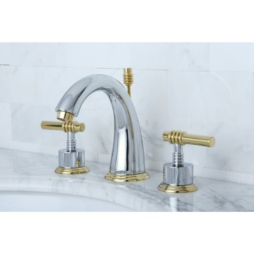 Kingston Brass KS2964ML Milano Widespread Lavatory Faucet with Metal lever handle, Polished Chrome and Polished Brass