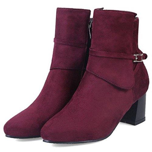 Wine Boots COOLCEPT Red Zipper Women Short nwYqqxZPv