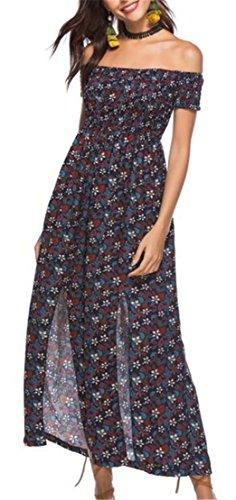 Jaycargogo Femmes Impression Bohème De L'épaule Haute Maxi Robe Fendue Comme Image