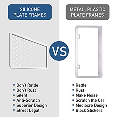 ONE PIX License Plate Frame Silicone License Plate Covers Holders Rust-Proof/Rattle-Proof/Weather-Proof for Car License Plate - White: Automotive