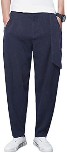 (モダンミス)Mordenmiss 麻パンツ メンズ リネンパンツ カジュアル ロング丈 ジョガーパンツ リラックスパンツ クロップドパンツ ナチュラル