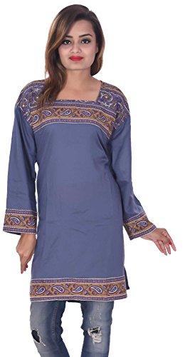 Indian-Grey-Color-Top-Kurta-Women-Ethnic-Tunic-Kurti-plus-size-paisley-print-Floral-100-Cotton