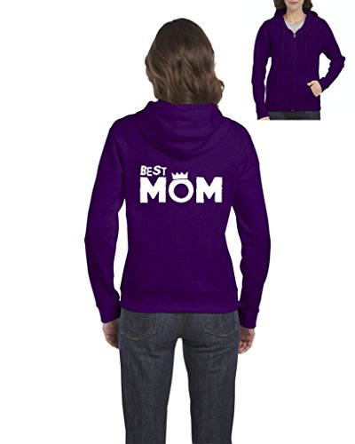 Ugo Best Mom Queen Crown Matching w Best Dad Gift for Mothers Day Christmas Full-Zip Women's Hoodie (Dad Womens Zip Hoodie)