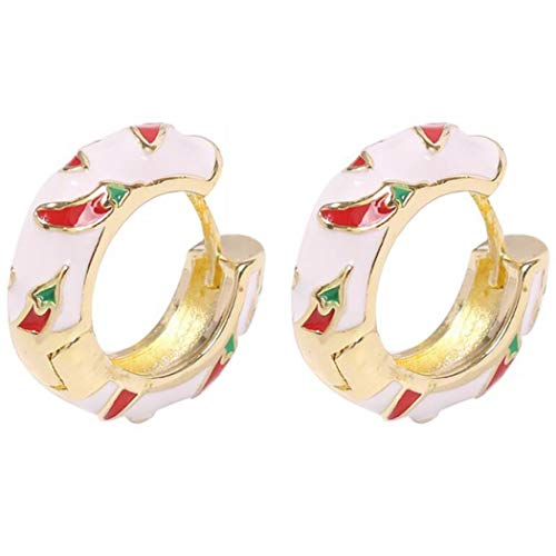 Round Lemon Chili Earrings Retro Temperament Earrings for Women (Chili)