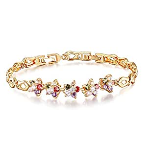 Colorful Crystal Zirconia Elegant Rhinestone Bracelets Alloy Women Bangles Lovers Popular Fashion Jewelry Romatic Wedding Party Accessories