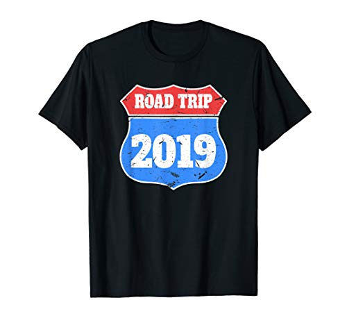 Road Trip 2019 Shirt Vintage Road Sign Friends Vacation Tee (Best Friend Road Trip)