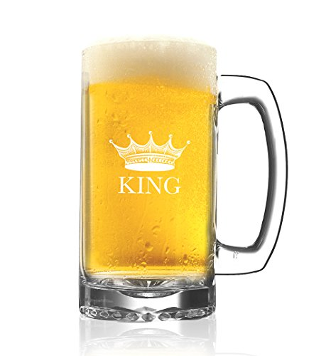 King Beer Glass - Fancy Valentines Day Gift for Him - Couples Anniversary Mug Drinkware - Housewarming Wedding Newlyweds Husband Father Engagement Bachelor - Cool Novelty Glassware Party Favors (Fathers Day Beer Gifts)