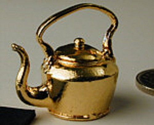 (Dollhouse Miniature Large Gold Kettle with Lid in Pewter)