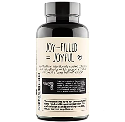 Joy-Filled | 100% Plant-Based Supplement for Anxiety & Depression Relief | Helps Relax the Mind, Boosts Mood, & Relieve Stress | Contains 7 Powerful Herbs, Non-GMO, 60 Vegan Capsules