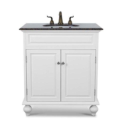 Baltic Brown Granite (32 inch Bathroom Vanity Set White Wooden Cabinet with Baltic brown Granite Top)