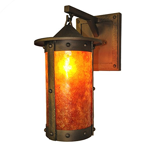 2161 Lens - Steel Partners Lighting 2161-74-AB PASADENA ROGUE RIVER Hanging Sconce with Amber Mica Lens, Architectural Bronze Finish