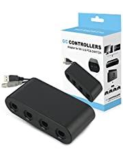 Wii U Gamecube Controller Adapter,YTEAM Gamecube NGC Controller Adapter for Wii U,Nintendo Switch and PC USB.Easy to Plug and No Driver Need.4 Port Black Gamecube Adapter(Updated Version)