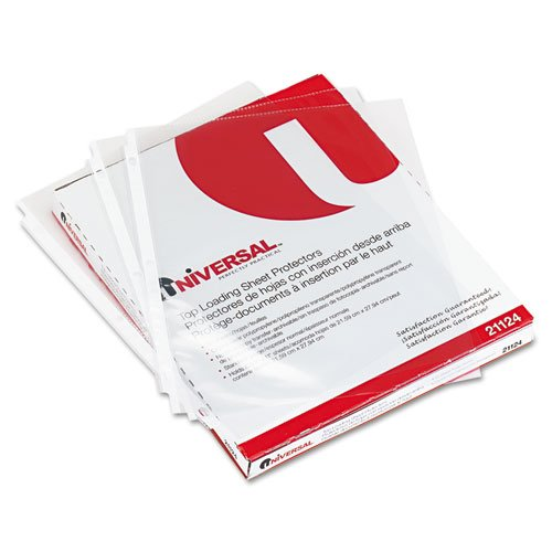 Universal 21124 Top-Load Poly Sheet Protectors, Standard Gauge, Letter, Clear (Pack of 50)