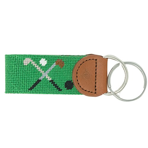 - Islanders Hand-Stiched Needlepoint and Leather Key Fob for Keychains, Augusta Golf Green/Light Brown, One Size