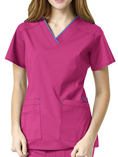 WonderWink Size Wonderflex Plus Peace Contrast V-Neck Women's Scrub Top, hot Pink, 2X-Large
