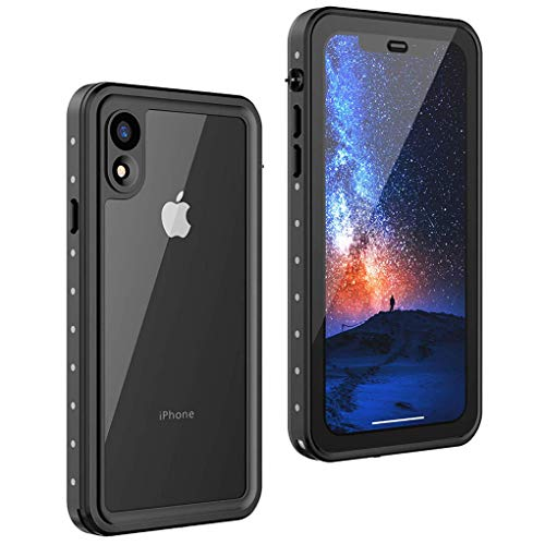 Waterproof iPhone XR Case 360 Degree Full-Body Rugged Clear Bumper Case with Built-in Screen Protector Heavy Duty Protection Shockproof Anti-Scratch Support Wireless Charging Cover Case for iPhone XR