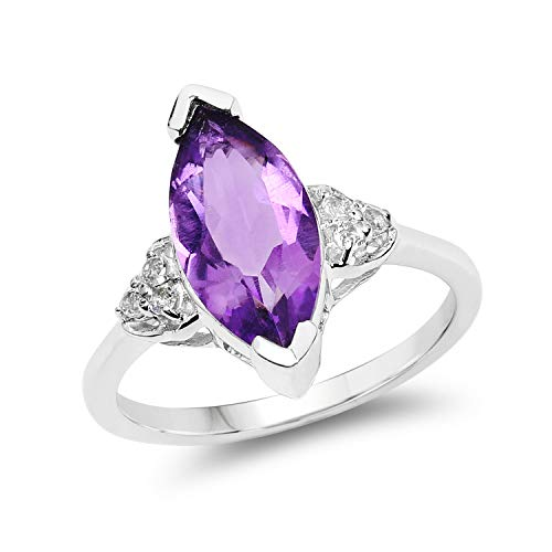 (Bonyak Jewelry Genuine Marquise Amethyst and White Topaz Ring in Sterling Silver - Size 9.00 )