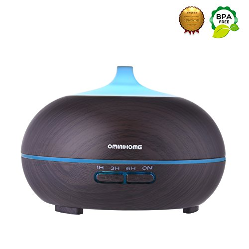 Aromatherapy Essential Oil Diffuser, Wood Grain 300ml, Ominihome 4 Time Setting, Ultrasonic Cool Mist Humidifier for Home, Office, Spa Baby, Yoga, Christmas, New Year Gift (dark wood grain)