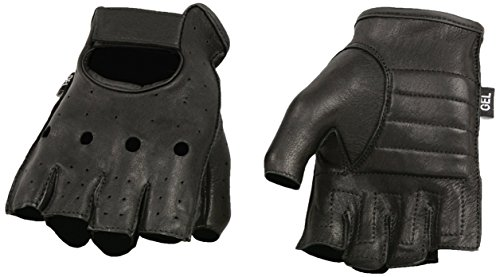 Shaf International Deer Skin Fingerless Gloves with Gel Padded Palm (Black, Medium)