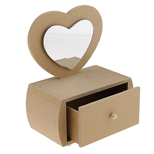MagiDeal Love Heart Unfinished Wooden Jewelry Box with Drawer Mirror for DIY Craft