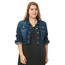 Allegra K Women Plus Size Button Closed Cropped Denim Jacket