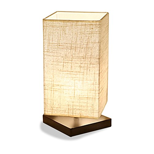 ZEEFO Simple Table Lamp Bedside Desk Lamp With Fabric Shade and Solid Wood for Bedroom, Dresser, Living Room, Baby Room, College Dorm, Coffee Table, Bookcase (square)