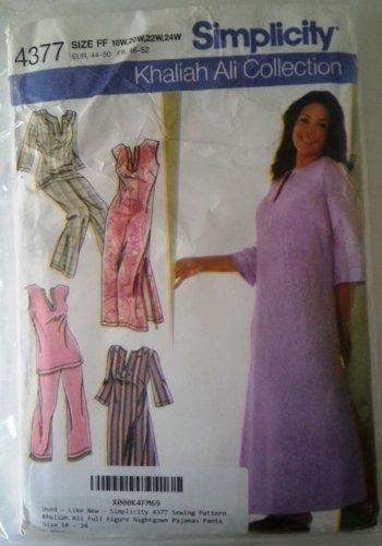 Simplicity 4377 Sewing Pattern Khaliah Ali Full Figure Nightgown Pajamas Pants Size 18 - 24