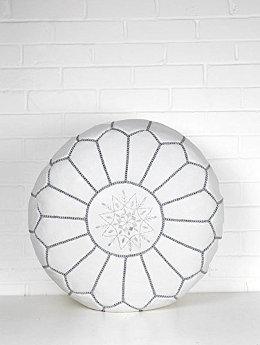 Kenzella Wares Luxury Leather Moroccan Poufs - White Unstuffed Grey Stitching by Kenzella Wares