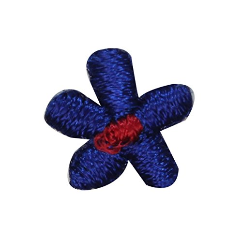 - ID 6411 Lot of 3 Small Blue Flower Patch Daisy Bloom Embroidered IronOn Applique