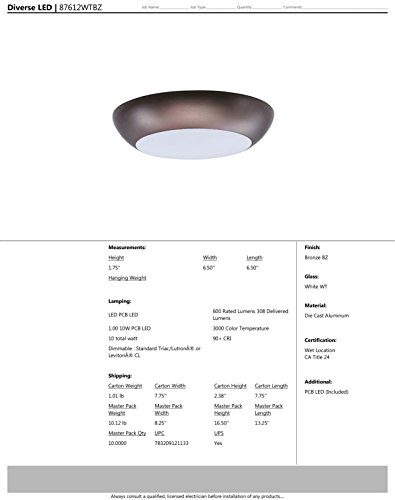 Maxim 87612WTBZ Diverse LED Flush Mount, Bronze Finish, White Glass, PCB LED Bulb , 100W Max., Damp Safety Rating, Standard Dimmable, Shade Material, Rated Lumens by Maxim Lighting (Image #3)