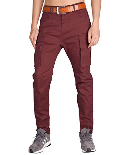ITALY MORN Men's Cargo Pants Athletic Fit Big Bellows Pockets (30, Burgundy)