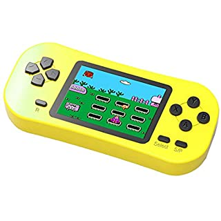 Douddy Kids Retro Handheld Game Console Built in 218 Old School Video Games 2.5'' Display USB Rechargeable 3.5 MM Headphone Jack Arcade Entertain System Children Birthday (Yellow)