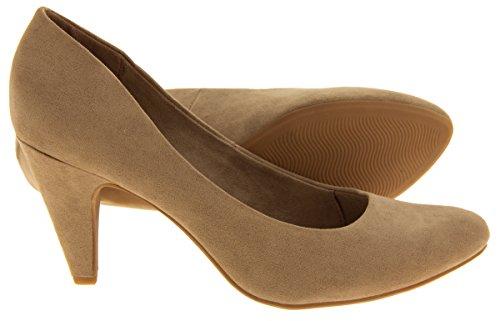 Mujer Marco Tozzi Zapatos medios de la corte de los talones del ante del faux Taupe