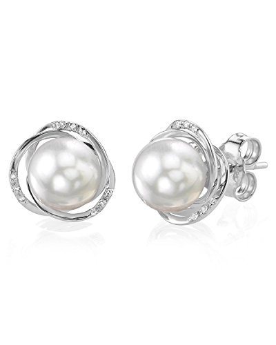 THE PEARL SOURCE 14k Gold 8.5-9 mm AAA Quality Round Genuine White Akoya Cultured Pearl & Diamond Lexi Earrings Set for ()
