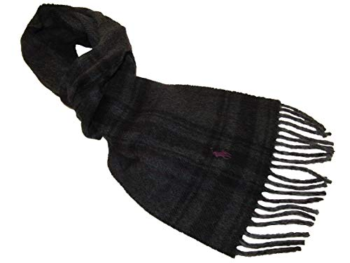 Polo Ralph Lauren Mens Wool Blend Italy Plaid Scarf Charcoal ()