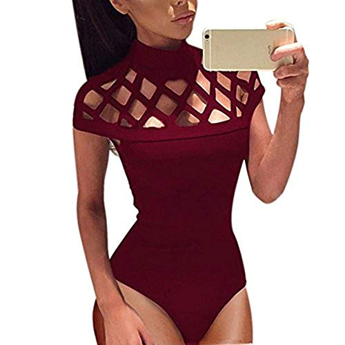 - Zainafacai Jumpsuit for Women,Choker High Neck Bodycon Caged Sleeves Jumpsuit Bodysuit Tops Playsuit Wine Red