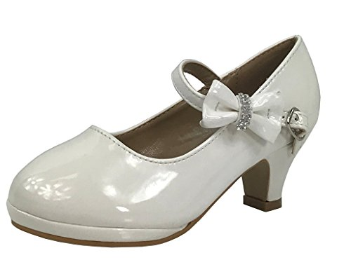 Little Girl's Bow Mary Jane Pumps Dress Shoes WHITE PAT 2 US Little (Girls White Ballet Pumps)