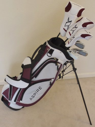 """Ladies Complete Golf Set Custom Made for Petite Women 5'0""""-5'5"""" Tall Taylor Fit Driver, Wood, Hybrid, Irons, Putter, Bag Graphite Lady Shafts Beautiful White with Deep Purple Wine Colored Accents"""