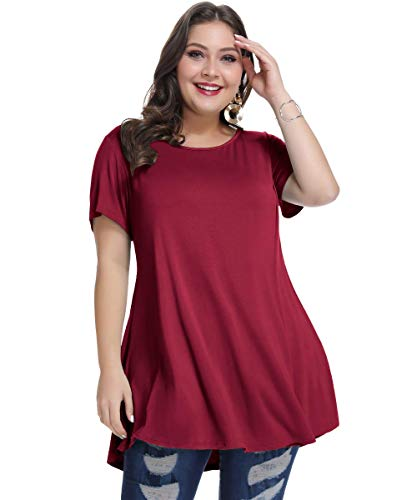 MONNURO Womens Short Sleeve Casual Loose Fit Flare Swing Tunic Tops Basic T-Shirt Plus Size(Wine Red,5X)