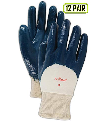 MAGID 4840 Cotton MultiMaster Light Weight Glove with Nitrile Palm Coating, Work, Size 7 (12 Pair) (7 Multimaster)