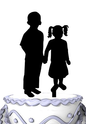 Meijiafei Two Kids in Love Wedding Cake Topper, Silhouette Birthday Cake Topper