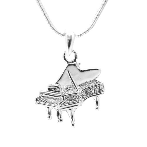 Spinningdaisy Silver Plated Crystal Grand Piano Necklace (Pendant Piano)