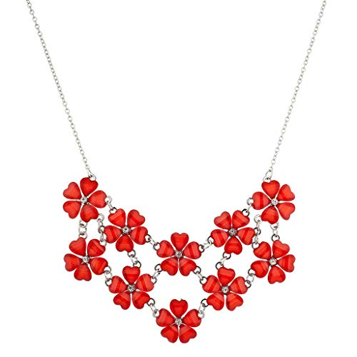 Lux Accessories Silvertone n Red Acrylic Flower Floral Mini Statement -