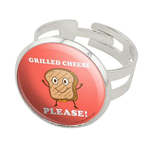 GRAPHICS & MORE Grilled Cheese Please Sandwich Funny Humor Silver Plated Adjustable Novelty Ring