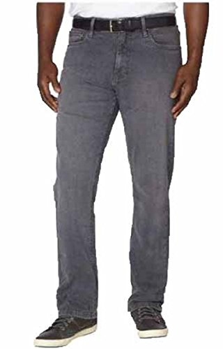 Urban Star Men's Relaxed Fit Straight Leg Stretch Jeans (34X32, Grey)
