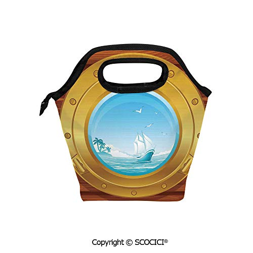 Reusable Insulated Lunch Bags with Pocket Brass Porthole on a Wooden Penal Golden Metallic Palm Trees Island Birds for Adults Kids Boys Girls.