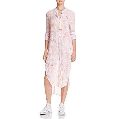 Free People Womens Linen Tie-Dye Sleep Dress Pink M